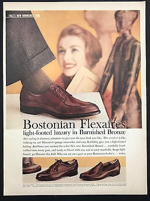 1960 Vintage Print Ad 1960s BOSTONIAN Flexaires Men's Foot Fashion Woman Smiling