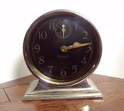 WESTCLOX BEN HUR WIND-UP ALARM CLOCK BLACK FACE Art Deco Western Clock Canada