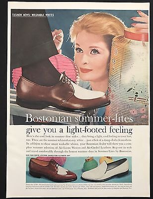 1960 Vintage Print Ad 1960s BOSTONIAN Men's Foot Fashion Woman Looking