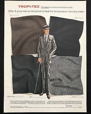 1960 Vintage Print Ad 1960s TROPI-TEX Tailored Summer Suits Men's Fashion