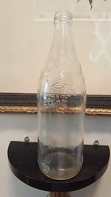 L. ROSE & Co. Ltd. EMBOSSED BOTTLE Flowers Vine Pattern Bottle Empty Clear Glass