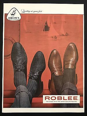 1960 Vintage Print Ad 1960s ROBLEE Shoes Foot Fashion 2 Gentlemen Relaxing