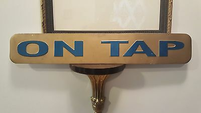 On Tap Metal Beer Sign Blue Letters with Gold Background Advertising Brew Bar
