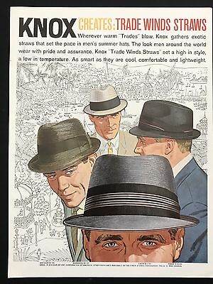 1960 Vintage Print Ad 1960s KNOX STRAW HATS Men's Fashion Style Illustration