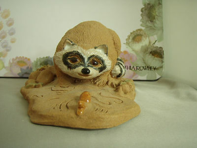 """Vintage Heaven Hilll Designs """"Baby Bandit"""" by June Sears Raccoon with Fish"""