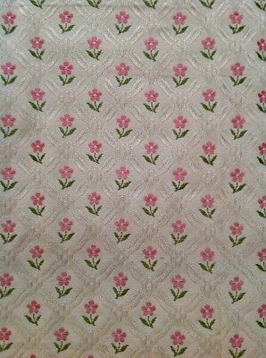 Antique Pink Rose Brocade Panel Fabric