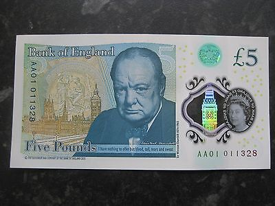 NEW Polymer AA01 011328 £5 Note GB Pounds Rare