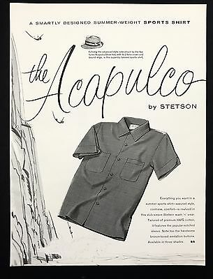 1960 Vintage Print Ad 1960s ACAPULCO BY STETSON Men's Fashion Shirt Style