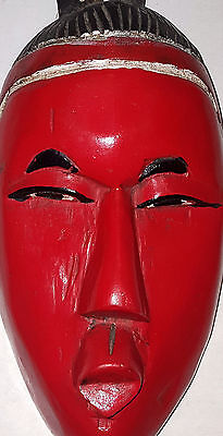 Red Black Wood Carved Tribal Mask (african?) Tribal Mask Bird on Head