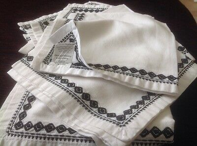 Napkins, 7, white linen/ cotton with black embreoidery, Pottery Barn