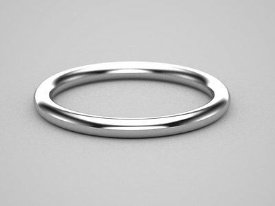 10k SOLID white Gold Skinny Wedding Ring 2mm Thin Round Simple Stacking Band
