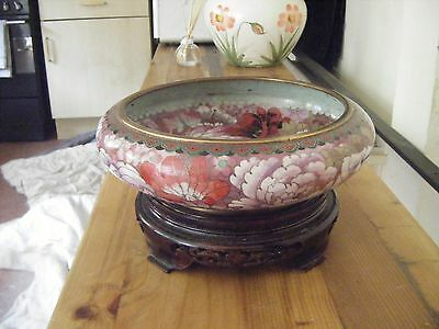 Large Chinese cloisonne very detailed bowl and wood stand