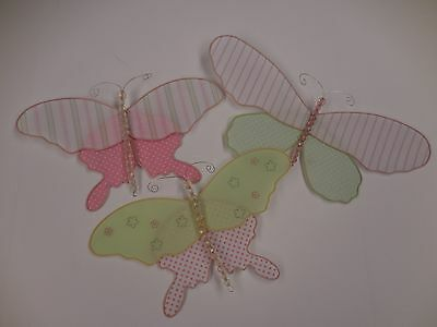 Pottery Barn Kids Set of 3 Butterflies Mobile Hanging Pink Green