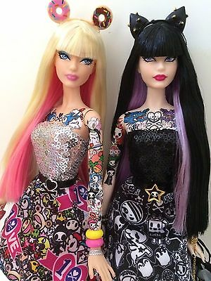 TokiDoki Barbie dolls Purple platinum ed/ Pink  10th anniversary OOAK dolls