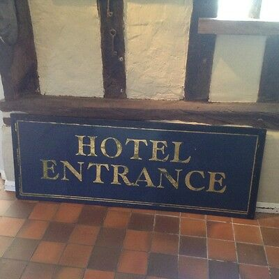 Large vintage antique original  wooden Hotel entrance sign