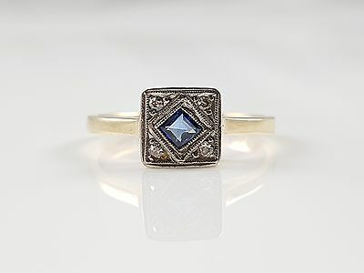 Vintage Art Deco 18Ct Yellow Gold Sapphire & Diamond 5 Stone Ring Circa 1930
