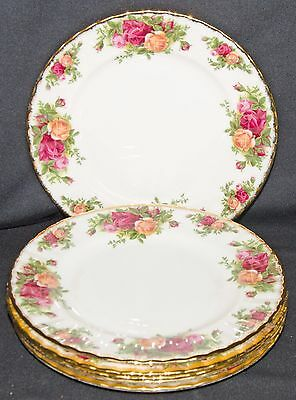 "Royal Albert Old Country Roses 6 Dessert Plates 8"" 1st Quality - 1962 Backstamp"