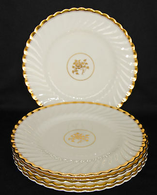 """Minton Gold Rose 6 Dinner Plates 10.5"""", Excellent Condition"""