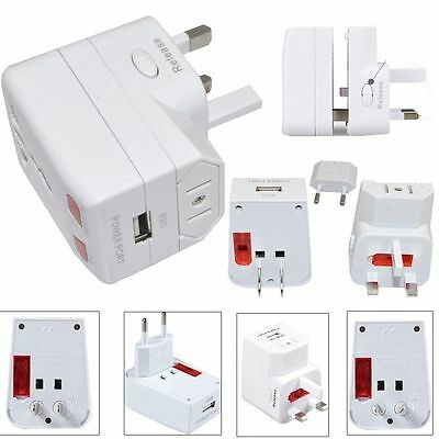 World Universal International Travel Adapter with Usb port UK EU AU US Plug