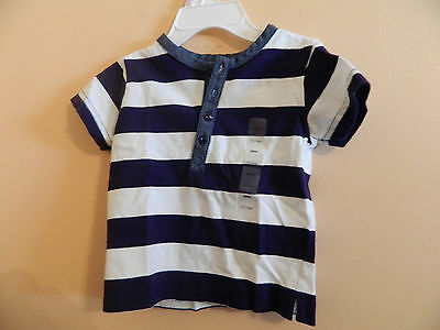 NWT babyGAP infant boy short sleeve t-shirt wide blue & white striped size 6-12m