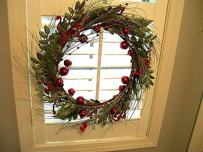 """CHRISTMAS WREATH With Red JINGLE BELLS,Long Needle PINES with BERRIES 19"""""""