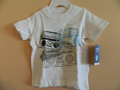 NWT Carters infant boys short sleeve t-shirt white w/multicolored boomboxes 6m