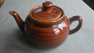 Vintage Treacle Glazed Teapot With Banded Design