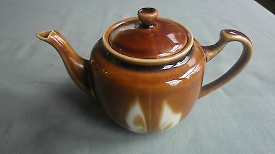 Vintage Small Chinese Treacle Glazed Teapot With Abstract Design