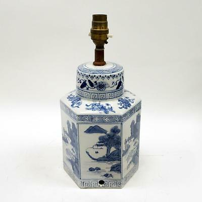 Vintage Hexagonal Chinese Blue and White Porcelain Desk Lamp (No Power Cable)