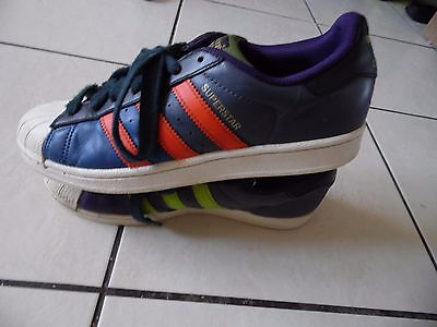 Adidas Superstar Trainers Color Blue/green/orange/gold Stripes Size 7