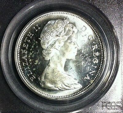 1966 Canada Silver Dollar ~ Pcgs Ms 63 Large Beads