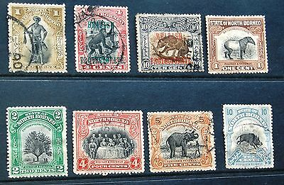 Small Collection Of 8 North Borneo Stamps 1897-1909 1 To 10 Cents MH & Used #