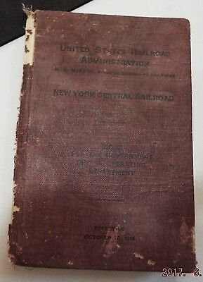 1918 United States Railroad Administration Rules New York Central Railroad Book