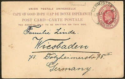 Transval: Post Card(entire) From Germiston to Germany 1914,Extra Fine