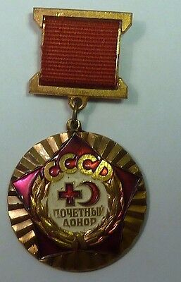 USSR Red cross Honorary Donor USSR Soviet Medic  brass pin badge