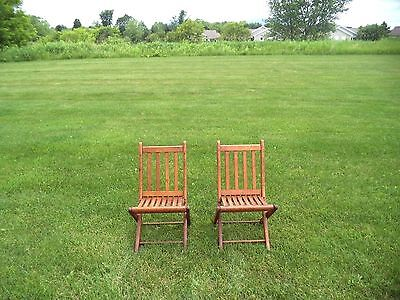 Set of 2 Vintage Oak Small Children's Slatted  Dock/Lawn Chairs 1920's!