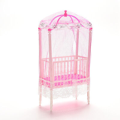 1 Pcs Fashion Crib Baby Doll Bed Accessories Cot for Barbie Girls Gifts ec