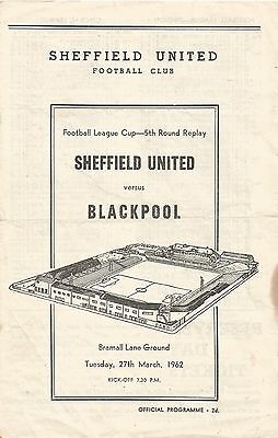 Sheffield United v Blackpool, 27 March 1962, League Cup Fifth Round Replay