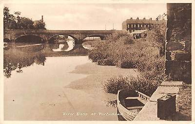 Northern Ireland River Bann at Portadown, boat, bridge, pont 1950