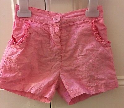 George Baby Girl's Pink Cotton Embroidered Shorts - Age 18-24 Months