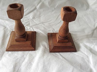 Solid Oak Turned Vintage Candlesticks