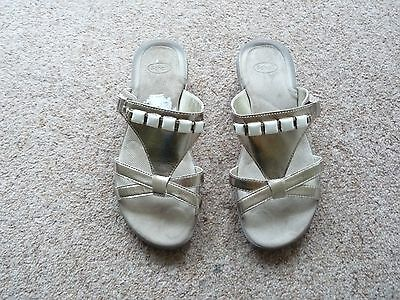 Ladies Scholl Gold Leather Slip on Sandals Size 4