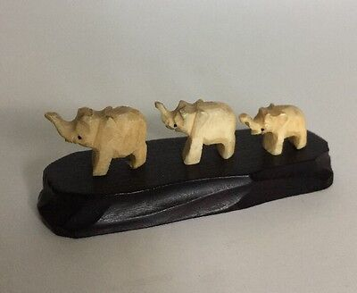 Pair Of Hand Carved Wood Elephant Figure Wooden Figurine Trunk in Air
