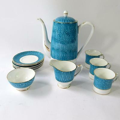 Stylish Coffee Pot Set - by Shelley Fine Bone China England - Turquoise Blue