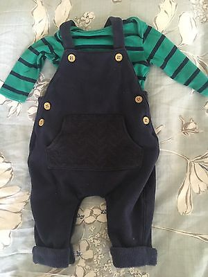 Next Baby Boy Dungaree 0-3mths Up To 3mths Navy And Green Outfit