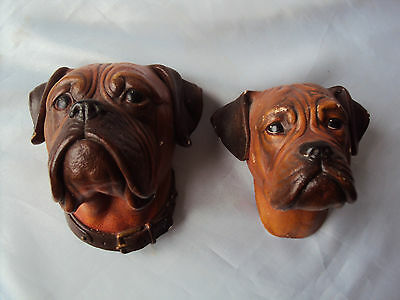 Bossons Congleton Pair Boxer Dog Heads Figurine Wall Hanging