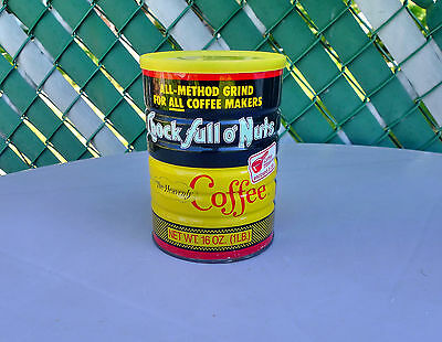 Vintage Sealed Full Tin Chock Full O' Nuts Coffee Can 1 lb with Lid Scoop Inside