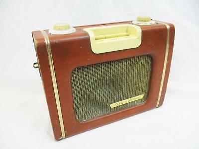 Vintage 1950's Ever Ready Sky Leader Wireless Radio Brown Leather Retro