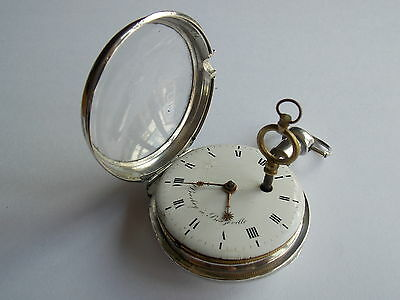 Quality Antique French Silver Fusee Pocket Watch,egyptian Pillars Working Order