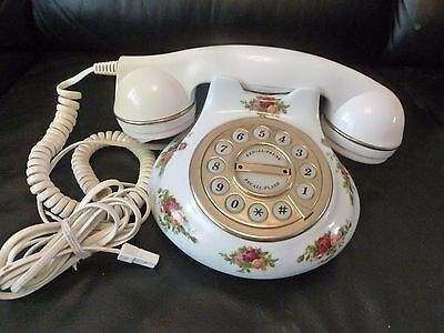 OLD COUNTRY ROSES WORKING, PUSH BUTTON TELEPHONE, 1st QUALITY, GC, ROYAL ALBERT